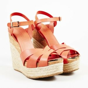Jimmy Choo Leather Espadrille Sandals Wedges